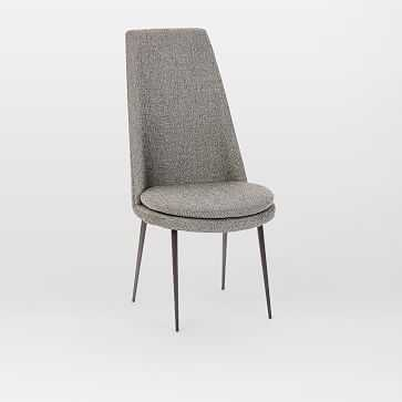 Finley High-Back Upholstered Dining Chair, Twill, Granite, Gun Metal - West Elm