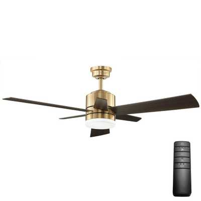 Hexton 52 in. LED Indoor Brushed Gold Ceiling Fan with Light Kit and Remote Control - Home Depot
