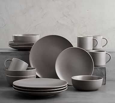 Mason 16 Piece Dinnerware Set - Graphite Gray - Pottery Barn