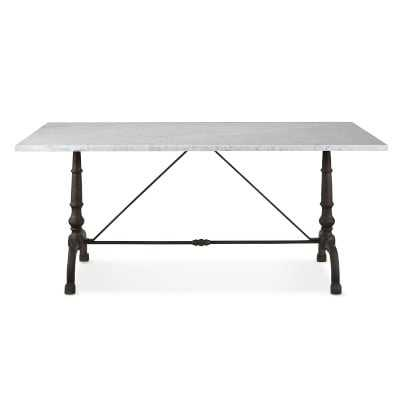 "La Coupole Iron Bistro Table with Marble Top, Rectangular, 72"" X 38"" - Williams Sonoma"