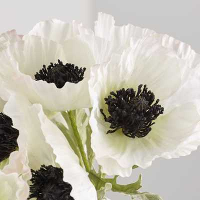 Artificial White Poppy Bunch - Crate and Barrel