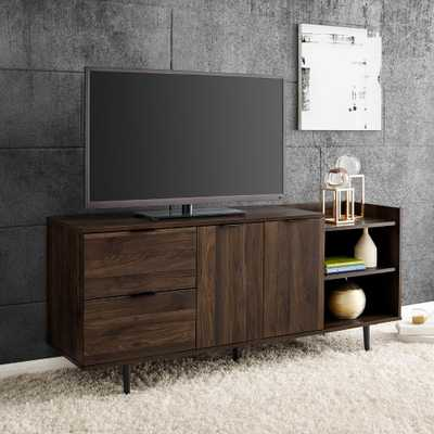 Welwick Designs Modern Dark Walnut TV Stand with Storage For TV's up to 64 in. - Home Depot