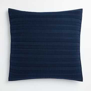 Organic Dobby Ladder Stripe Euro Sham, Midnight - West Elm