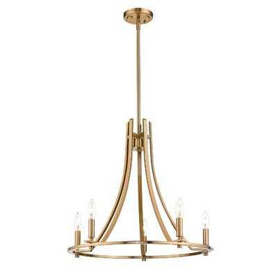 Peaslee Foyer Chandelier Farmhouse Lantern Pendant Light In Oil Rubbed Bronze Finish, 5 Light, Gold, Wagon Wheel - Wayfair