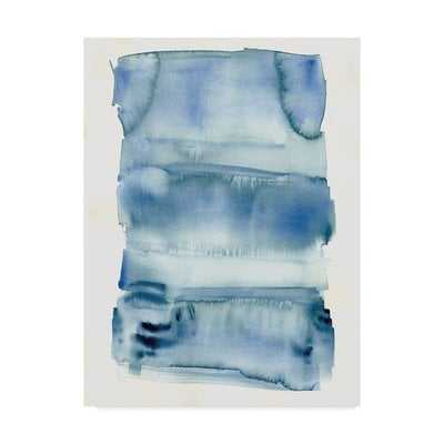 'Abstract Blue Watercolor' Watercolor Painting Print on Wrapped Canvas - Wayfair