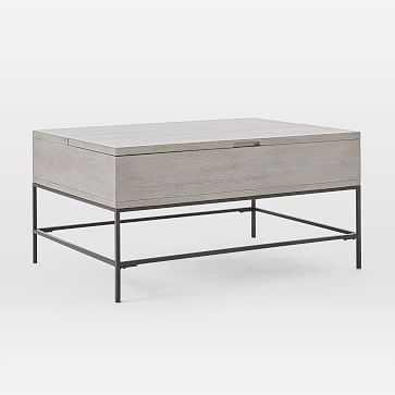 Industrial Storage Pop-Up Coffee Table, Gray - West Elm