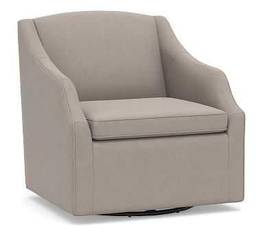 SoMa Emma Upholstered Swivel Armchair, Polyester Wrapped Cushions, Performance Everydayvelvet(TM) Carbon - Pottery Barn