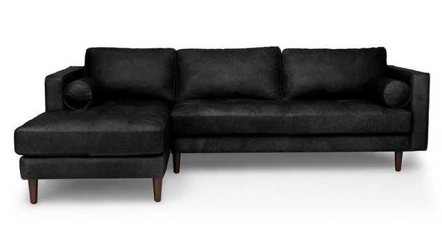 Sven Oxford Black Left Sectional Sofa - Article