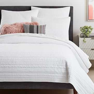 Organic Dobby Ladder Stripe Coverlet, King/Cal. King, White - West Elm