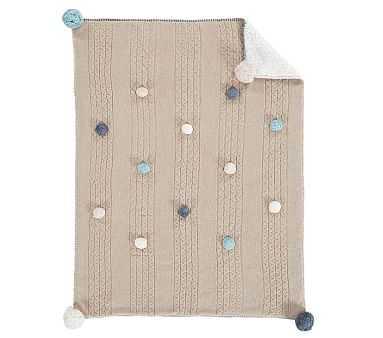 Cable Knit Pom Pom Baby Blanket - Pottery Barn Kids