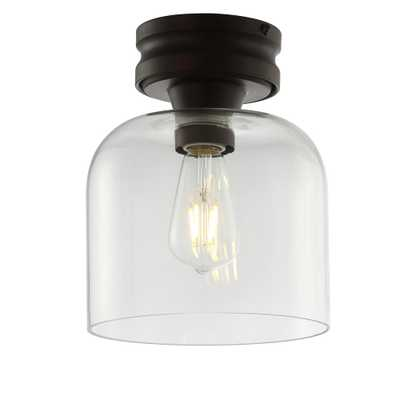 JONATHAN Y Domenic 7.75 in. Oil Rubbed Bronze Metal/Glass LED Flush Mount - Home Depot