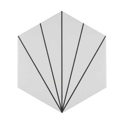 Merola Tile Aster Hex Blanco Encaustic 8-5/8 in. x 9-7/8 in. Porcelain Floor and Wall Tile (11.19 sq. ft. / case), White And Black/Medium Sheen - Home Depot
