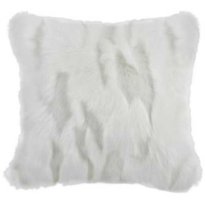 Textured Faux Plush Fur Pillow, Snow White - Home Depot