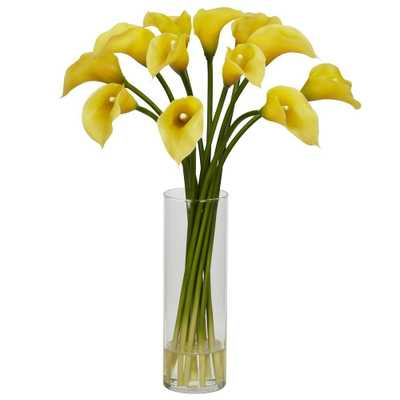 Nearly Natural 20 in. H Yellow Mini Calla Lily Silk Flower Arrangement - Home Depot