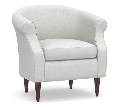 SoMa Lyndon Upholstered Armchair, Polyester Wrapped Cushions, Basketweave Slub Ivory - Pottery Barn