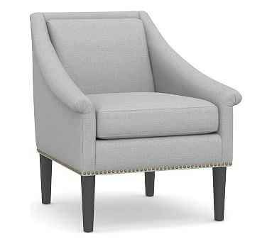 SoMa Valerie Upholstered Armchair, Polyester Wrapped Cushions, Brushed Crossweave Light Gray - Pottery Barn