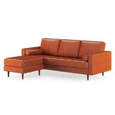 Ainslee Leather Reversible Modular Sectional With Ottoman - AllModern