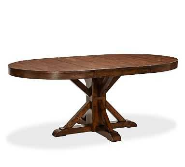 "Benchwright Extending Pedestal Dining Table, 48"" - 72"" L, Rustic Mahogany - Pottery Barn"