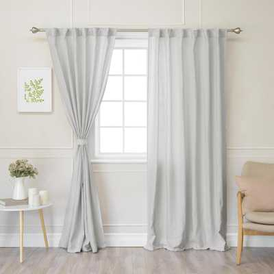 Best Home Fashion Light Grey 84 in. L Abelia Belgian Flax Linen Rod Pocket Panel - Home Depot