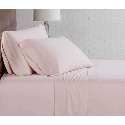 Brooklyn Loom Classic Cotton Blush King Sheet Set - Home Depot