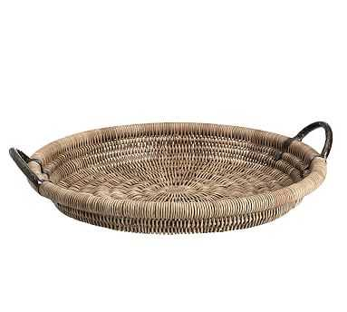 Round Woven Tray with Handles, Gray/Bronze - Large - Pottery Barn