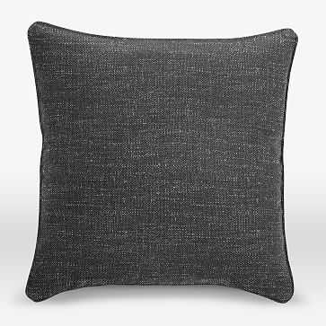 "Upholstery Fabric Pillow Cover, 18""x18"" Welt Seam Square, Heathered Tweed, Charcoal - West Elm"