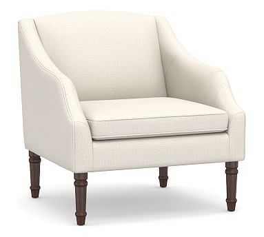 SoMa Emma Upholstered Armchair, Polyester Wrapped Cushions, Performance Heathered Tweed Ivory - Pottery Barn