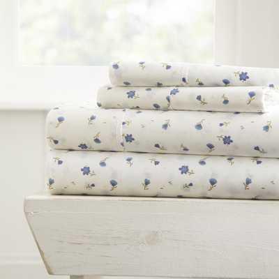 Soft Floral Patterned 4-Piece Light Blue Twin Performance Bed Sheet Set - Home Depot