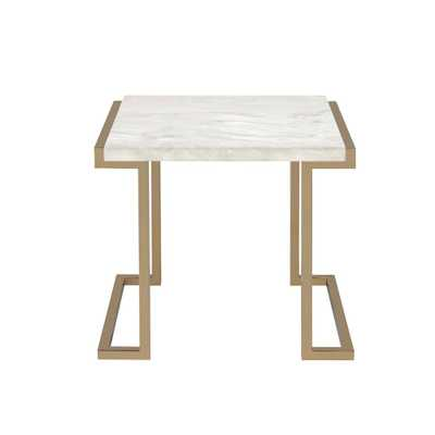Boice II End Table in Faux Marble and Champagne, Faux Marble & Champagne - Home Depot