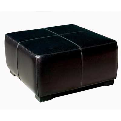Baxton Studio Black Full Leather Square Ottoman Footstool - Lark Interiors