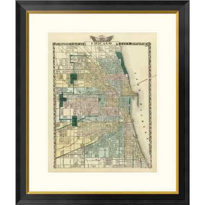 Map of Chicago City, 1876 Framed Graphic Art - Wayfair