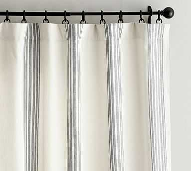 "Riviera Stripe Curtain with Blackout Liner, 50 x 108"", Charcoal - Pottery Barn"