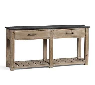 Parker Reclaimed Wood Console Table with Bluestone Top - Pottery Barn
