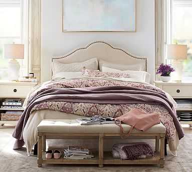 Fallon Upholstered Bed with Bronze Nailheads, King, Brushed Crossweave Light Gray - Pottery Barn