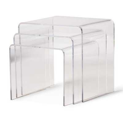 Brierly Clear Acrylic 3 Piece Nesting Tables - Wayfair