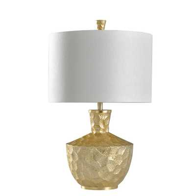 StyleCraft 29.75 in. Gold Leaf Table Lamp with White Hardback Fabric Shade - Home Depot