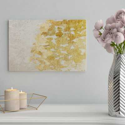 'Gold vs Platinum Abstract Art' Wrapped Canvas Print - AllModern