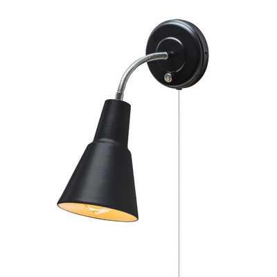 Globe Electric Ramezay 1-Light Matte Black Plug-In or Hardwire Task Wall Sconce Light - Home Depot