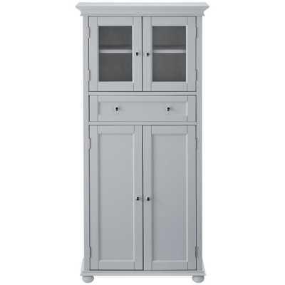 Home Decorators Collection Hampton Harbor 25 in. W 4-Door Tall Cabinet in Dove Grey - Home Depot