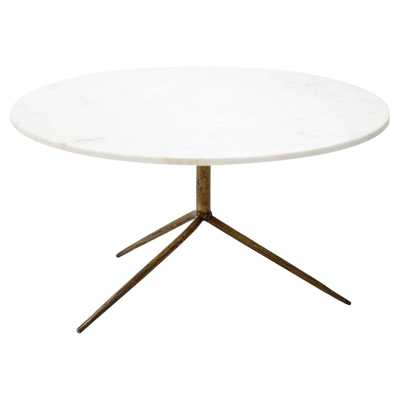 Serena Modern Round White Marble Top Gold Antique Brass Legs Coffee Table - Kathy Kuo Home