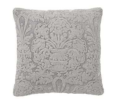 """Melodie Embroidered Pillow Cover, 22"""", Ash Gray - Pottery Barn"""