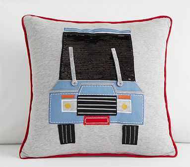 On The Road Pillow, 16x16 Inches, Grey Multi - Pottery Barn Kids