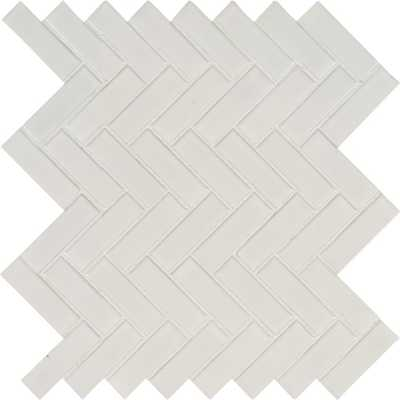 MSI White Glossy Herringbone 9.72 in. x 12.52 in. x 10 mm Porcelain Mesh-Mounted Mosaic Tile (16.9 sq. ft. / case) - Home Depot