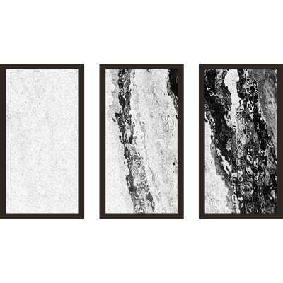 'Black and White Fluid Art III Asolo Black' Framed Graphic Art Print Multi-Piece Image - Wayfair
