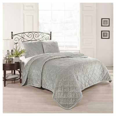 Gray Collette Coverlet Set (Queen) 3 Piece - BeautyRest - Target
