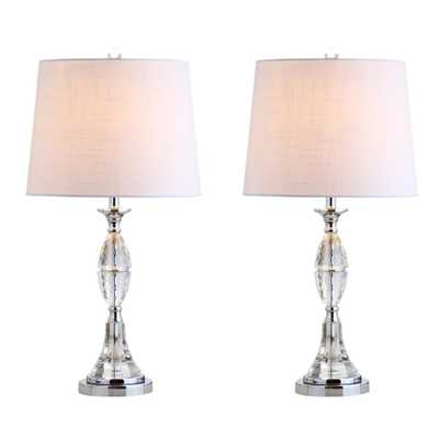 JONATHAN Y Reid 25.5 in. Crystal Table Lamp, Clear/Chrome (Set of 2) - Home Depot