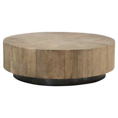 Carelton Industrial Modern Rustic Charcoal Oak Black Base Round Coffee Table - Kathy Kuo Home