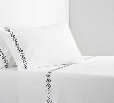 Trellis Embroidered Organic Sheet Set, Twin XL, Midnight - Pottery Barn