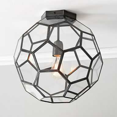 Glass Geo Flushmount, Black with Clear Glass - Pottery Barn Teen
