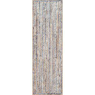 Striped Dara Jute Blue Runner Rug - Home Depot